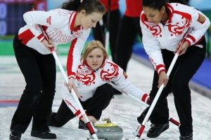 Russia's skip Privivkova watches her shot during their women's round robin curling game against Germany at the Vancouver 2010 Winter Olympics